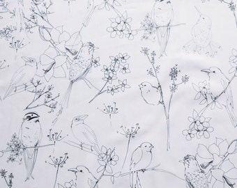 Hand drawn birds sketch design printed on white Cotton lawn fabric - dark grey outline on a white background - by the metre