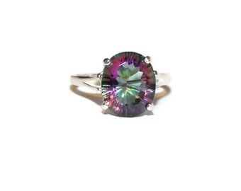 Mystic Topaz Ring, Middle Finger Ring, Right Hand Ring, Sterling Silver Ring With Big Stone