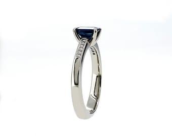 1.02ct, emerald cut Blue sapphire ring, Diamond ring, emerald cut sapphire, solitaire, engagement ring, Diamond engagement, blue, custom