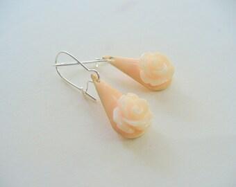 Pretty Peach Rose Dangle Earrings, Enamel Earrings, Shiny Silver, Womens Jewelry, Drop Earrings