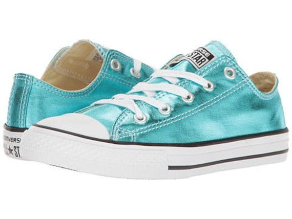 Converse Low Top Blue Turquoise Teal Aqua Metallic Chuck Taylor Custom w/ Swarovski Crystal Rhinestone Jewel Bling All Star Sneakers Shoes