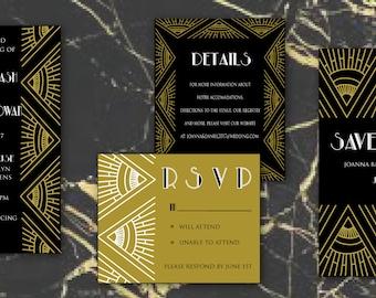 Boho Gatsby suite-Black, art deco black and gold wedding invitation suite, geometric black and gold