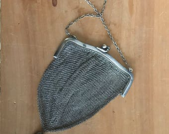 """1910s Whiting and Davis German Silver Mesh Dance Purse, Bag with Chainlink Handle. Engraved """"Irma"""""""