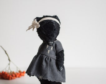Made To Order Black Mohair Teddy Bear Wool Dress 8 Inches Stuffed Animal Handmade Toy Soft Toys Artist Teddy Bear Personalized Gift For Her