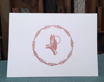 OWL, Handmade, Embossed, Vintage, White, Folded Card, Envelope, Blank Inside, Message Inside, Leaf, Feather, Decorative Round Border