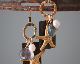 Serena Earrings: Golden brass starfish, blue quartz briolette and freshwater pearl wire wrapped on 14k gold filled wire, dangle earrings
