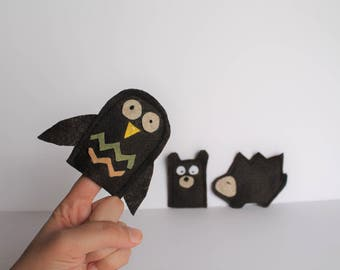 Cute Set of Woodland Finger Puppets -- Including Bear, Hedgehog, and Owl Finger Puppets