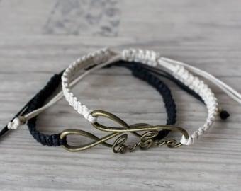 Couples infinity bracelet His and her bracelet Friendship bracelet set Love bracelet Bff bracelets - set of 2