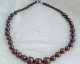 Vintage Brown Large Lucite Beaded Necklace