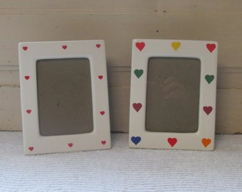 Pair of 1990's Ceramic Heart Picture Frames,