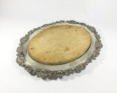 Antique wooden bread board, Silver plated serving tray, Oval ornate silver plate platter, Cheese Chopping board, Alex Clark, Welbeck Plate