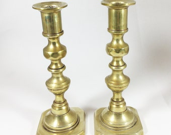 "Vintage pair of heavy brass candlesticks, Candleholders, 6 and 1/2 "" high, Sturdy chunky design"