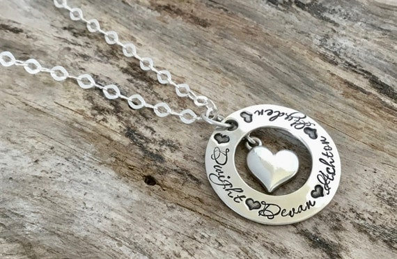 Personalized Name Necklace / Kids Name Necklace / Name Necklace Sterling Silver / Name Necklace / Sterling Silver / Heart Pendant