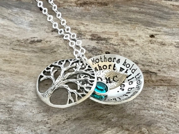 Family Tree Necklace Mother's Necklace Layered Birthstone Locket with Tree Initial Leaf Charm Personalized Mother Daughter Son Necklace