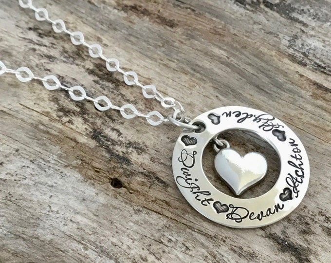 Featured listing image: Heart name necklace| Personalized Mothers necklace |Personalized necklace| Hand Stamped Necklace| Sterling Silver Heart Jewelry |Mothers Day