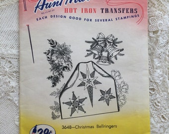 Vintage Aunt Martha Iron On Transfer Christmas Stars Jingle Bells Poinsettia 3648 Christmas Bellringers 29 cents