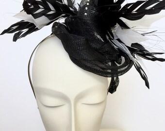 Black White Kentucky Derby Fascinator Church Black White Easter Hat Black