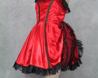 1860s Saloon Girl Costume Red Ruffled Can Can Dress Tabis Label Size Medium