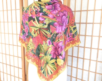 Vintage 80s Albert Nipon Silk Scarf in Tropical Print