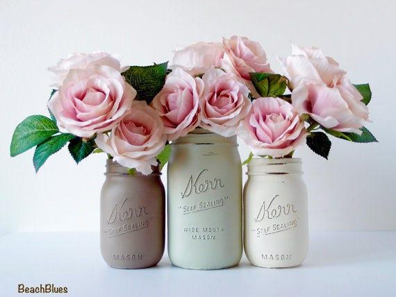 Office Decor / mason jars / home decor / pencil holder / dorm decor / vase / set of 4 pints / cream taupe olive / neutral earth tones