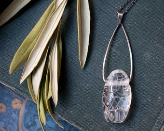 Owl necklace, carved rock crystal pendant, Goddess necklace, quartz animal totem, sterling silver, amulet, talisman, Athena.