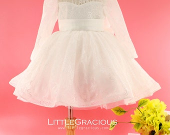 Long Sleeves Toddler Easter Dress in Ivory Lace, Baby Girl Dress, Infant Pageant Dress LG002