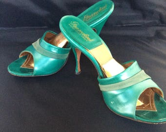 1950s teal green springolator stiletto heel shoes AU7 / EU 37