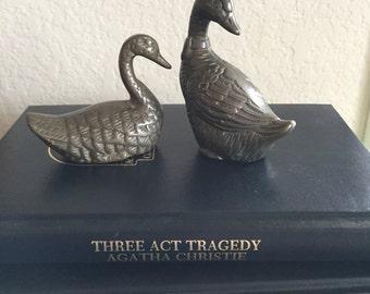 Brass Ducks / Vintage Solid Brass Duck Figurines Decor Small
