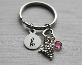 Grapes Initial Keychain with Birthstone, Grape Loves, Grape Lovers Gifts, Grape Jewelry, Food Lovers Jewelry, Fruit Lovers Jewelry, Gifts