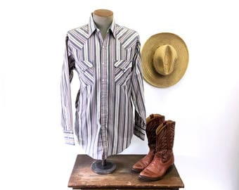 1980s Vintage Striped Western Shirt Mens Cowboy Style Long Sleeve Pearl Snap Shirt by PLAINS Western Wear - Size MEDIUM
