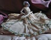 French Vintage , Ribbon-work, Rococo Ribbon-work, Roses Ribbon-work, Boudoir Doll, Half Doll , Antique Ribbonwork, Old French ,