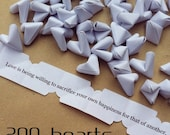 200 paper origami heart love quotes - wedding - simple decor - free delivery - wedding favour