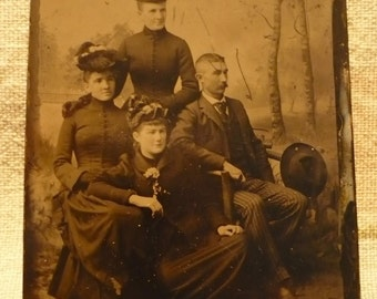 1890s-Tin Type-Victorian Family Portrait-Dad,Mom,2 Girls
