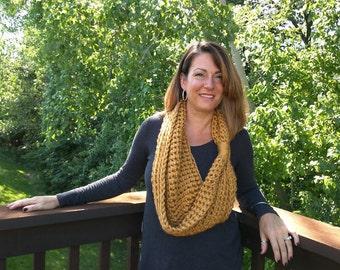 Mustard Scarf . Gold Scarf . Mustard Infinity Scarf . Crochet Scarf . Mustard Knit Scarf . Mustard Cowl . Made in USA . DottieQ Scarf