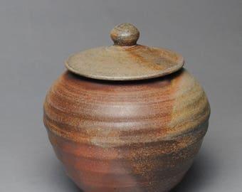 Wood Fired Sugar Bowl Jam Jar  Condiment Jar Large G68