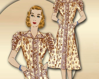 1930s Day Dress Pattern Wing Collar * Unique 2 Piece Sleeves Front Button Closure Princess Seams * Pockets on Skirt Bust 36 Hollywood 1624