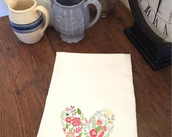 Valentine's Day Floral Heart White Flour Sack Hand Towel Tea Towel Dish Towel Bathroom Hand Towel Valentine Gift Mom Grandmother Kitchen