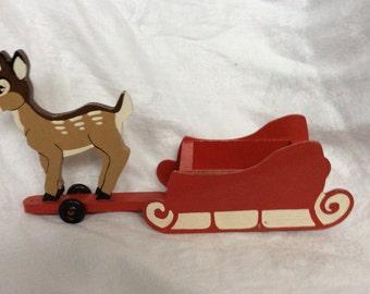 Vintage Handmade Deer and Sleigh Toy on Wheels