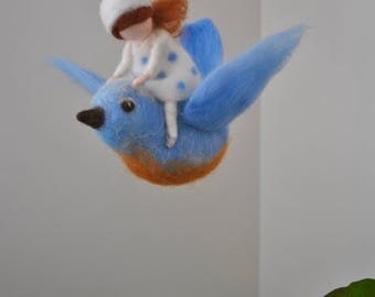 Blue Bird mobile /wool decoration /WaldorfiInspired wall hanging: The girl and the blue bird flying