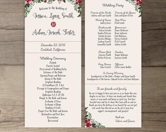 Winter Wedding Programs • Order of Service • Floral Woodland • Ceremony Wedding Party • printable