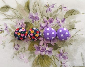 Button Earrings / Set of 2 / Wholesale Jewelry / Vintage Fabric / Small Gifts / Hypoallergenic Earrings / Bridal Shower / Accessories