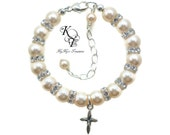 Baby Bracelet, Baptism, Baptism Bracelet, Baptism Cross, Christening Bracelet, Baptism Gift, Christening Gift, First Communion, Swarovski