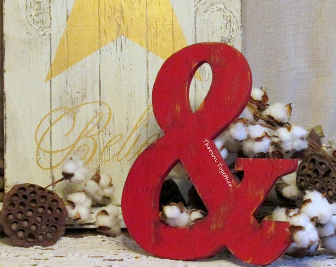 Barn Red Ampersand Sign, Red Rustic Wood Wall Decor, Handmade 12.5in Ampersand, Rustic Wedding Prop, Gallery Wall, Distressed Wall Art