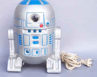 Vintage 1980's Star Wars R2-D2 Kids Ceramic Night Light in Working Condition