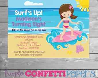 Beach Birthday Invitation, Beach Invitation, Beach Invite, Beach Theme, Surfing Invitation, Surf Party Invite, Surfing Invite, Printable