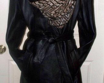 Vintage Jones New York Leather Coat - Ladies  - Lambskin - Size L - Car Coat