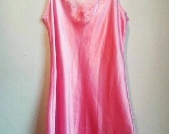 Pink Vintage Camisole Slip Dress Silky Lingerie Satin Lingerie Pyjama Cami Dress Sleepwear Nightwear Baby Pink Camisole Lingerie Slip Dress