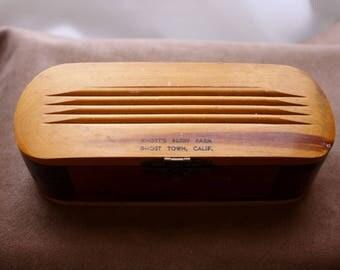 Cedar Trinket Box/ California Souvenir Jewelry Box/ / Mid Century /Knotts Berry Farm Ghost Town/ Wood  Box/Vintage 40s-50s Wooden Box