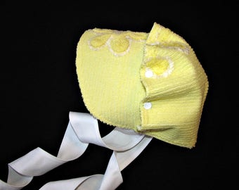 Toddler bonnet vintage chenille 9 - 24 mos ready to ship Easter bonnet sunbonnet MADE in the USA