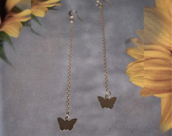 Charm Jewelry - Butterfly Earrings, Gold Butterfly Charms